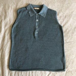 BALLY Cotton Teal Knit Polo Sweater Vest